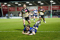Sam James of Sale Sharks scores a try late in the game. European Rugby Challenge Cup quarter final, between Sale Sharks and Montpellier on April 8, 2016 at the AJ Bell Stadium in Manchester, England. Photo by: Patrick Khachfe / JMP