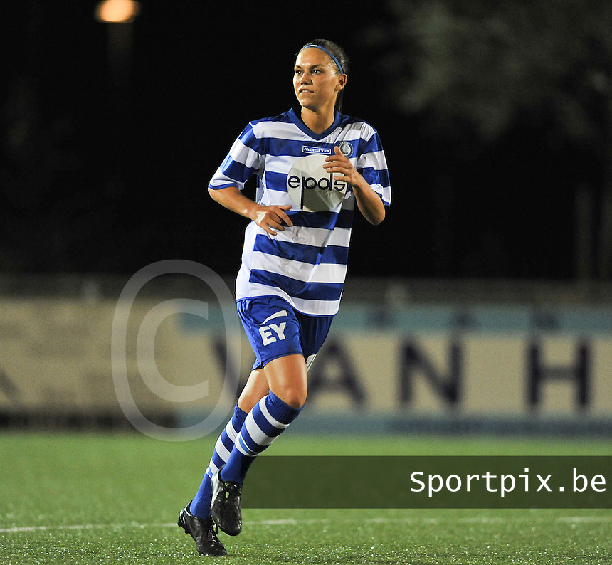 20130906 - OOSTAKKER , BELGIUM : Gent's Jassina Blom pictured during the female soccer match between AA Gent Ladies  and PSV / FC Eindhoven Dames , of the third matchday in the BENELEAGUE competition. Friday 06 th September 2013. PHOTO DAVID CATRY