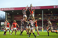 Maro Itoje of Saracens wins the ball at a lineout. Aviva Premiership match, between Leicester Tigers and Saracens on January 1, 2017 at Welford Road in Leicester, England. Photo by: Patrick Khachfe / JMP