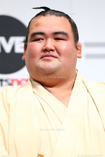Japanese sumo wrestler Kotoshogiku attends the SoftBank's new TV commercial press conference in Tokyo, Japan on June 16, 2016. (Photo by Shingo Ito/AFLO)