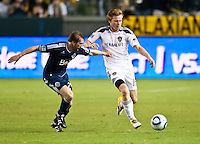 CARSON, CA - September 17, 2011: LA Galaxy midfielder Dan Keat (15) during the match between LA Galaxy and Vancouver Whitecaps at the Home Depot Center in Carson, California. Final score LA Galaxy 3, Vancouver Whitecaps 0.