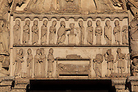 The Presentation in the temple in the upper lintel, and the Annunciation, Visitation, Nativity and Annunciation to the Shepherds in the lower lintel, from the right bay of the Royal Portal, 1142-50, Western facade, Chartres cathedral, Eure-et-Loir, France. Chartres cathedral was built 1194-1250 and is a fine example of Gothic architecture. It was declared a UNESCO World Heritage Site in 1979. Picture by Manuel Cohen