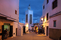 The Sidi Saidi mosque, built 1609, next to the Bab Saida gate in the medina or old town of Tetouan, on the slopes of Jbel Dersa in the Rif Mountains of Northern Morocco. Tetouan was of particular importance in the Islamic period from the 8th century, when it served as the main point of contact between Morocco and Andalusia. After the Reconquest, the town was rebuilt by Andalusian refugees who had been expelled by the Spanish. The medina of Tetouan dates to the 16th century and was declared a UNESCO World Heritage Site in 1997. Picture by Manuel Cohen