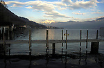 Jetty jutting on to the lake. Stätter See. Beckenried. Luzern area, Switzerland.
