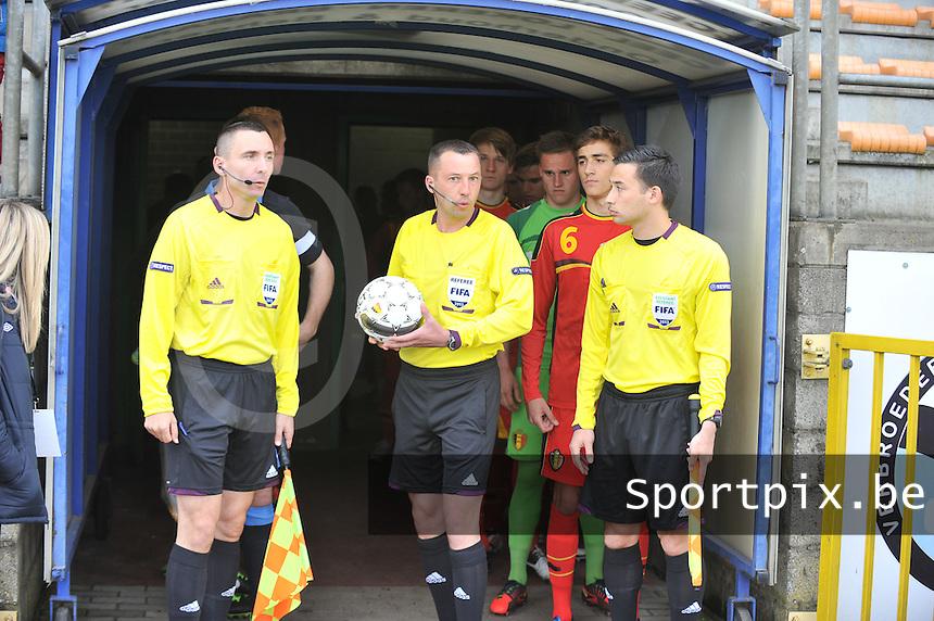 Belgium U19 - England U19 : Hrvoje Turudic , Emir Aleckovic and Remy Zgraggen (right).foto DAVID CATRY / Nikonpro.be