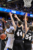 Ashton Gibbs of the Panthers is trapped under the basket. Butler upset no.1 seed Pittsburgh 71-70 during the 3rd round of the NCAA Tournament at the Verizon Center in Washington, D.C on Saturday, March 19, 2011. Alan P. Santos/DC Sports Box