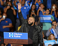 MIAMI GARDENS, FL - OCTOBER 20: DJ Khaled campaigns for Democratic Presidential Candidate Hillary Clinton at Florida Memorial University Multi Purpose & Wellness Center on October 20, 2016 in Miami Gardens, Florida.