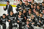 29 December 2014: Members of the Providence College Friars pose to celebrate their victory against the University of Vermont Catamounts and their win of the annual TD Bank-Sheraton Catamount Cup Tournament at Gutterson Fieldhouse in Burlington, Vermont. The Friars shut out the Catamounts 3-0 to win the 2014 Cup. Mandatory Credit: Ed Wolfstein Photo *** RAW (NEF) Image File Available ***