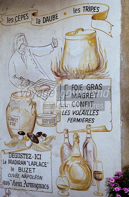 Europe/France/Midi-Pyrénées/32/Gers/Fleurance: Enseigne restaurant - menu du terroir gersois