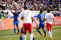 Shane O'Neill (27) of the Colorado Rapids on a throw in during the first half against the New York Red Bulls during a Major League Soccer (MLS) match at Red Bull Arena in Harrison, NJ, on March 15, 2014.