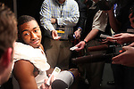 Freshman guard John Wall gets interviewed after  UK's second round  win, 90-60 over Wake Forest in the NCAA tournament at New Orleans Arena on Saturday, March 20, 2010. Photo by Britney McIntosh | Staff