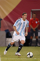 Argentina midfielder Maximiliano Rodriguez (7). The men's national teams of the United States and Argentina played to a 0-0 tie during an international friendly at Giants Stadium in East Rutherford, NJ, on June 8, 2008.