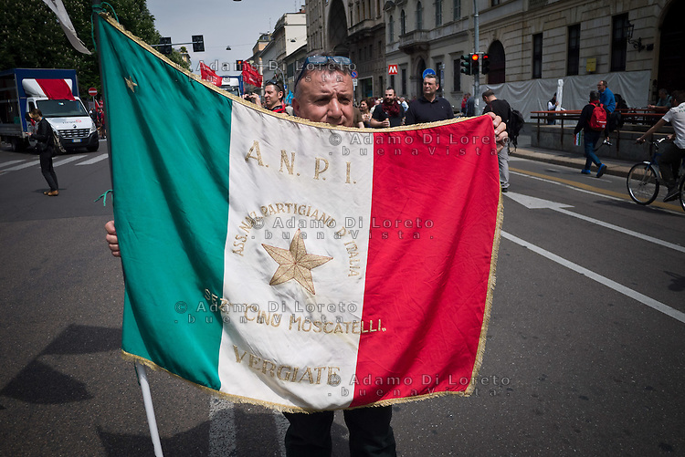 A people with italian flag during 25 April demonstration italian liberation of Nazi Fascism World War II thanks by partigiani, on April 25, 2014. Photo: Adamo Di Loreto/BuenaVista*photo