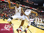 Florida State's Malik Beasley (5) and Zavier Rathan-Mayes (22) celebrate a 69-62 defeat of Virginia in an NCAA college basketball game in Tallahassee, Fla., Sunday, Jan. 17, 2016. (AP Photo/Mark Wallheiser)