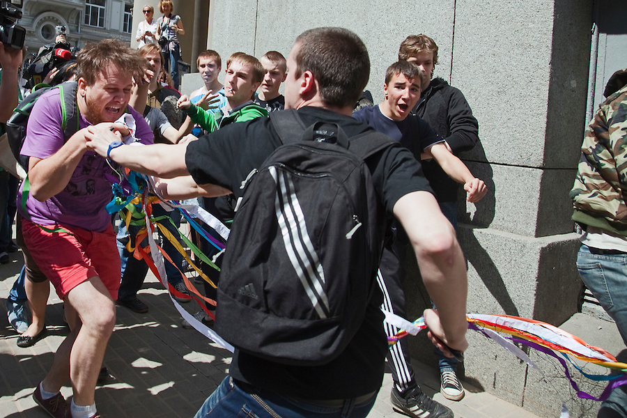 Russian nationalists attack gay rights demonstrators at an attempted gay ...