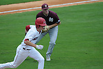 Mississippi State's Hunter Renfroe  throws to first for an out vs. Arkansas in the SEC Tournament at Regions Park in Hoover, Ala. on Tuesday, May 22, 2012.