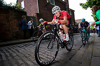Picture by Alex Whitehead/SWpix.com - 14/05/2017 - Cycling - 2017 HSBC UK | National Women's Road Series - Lincoln Grand Prix - Team Breeze's Ellie Dickinson climbs the Michaelgate cobbles.