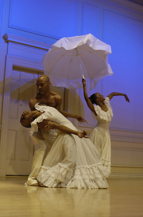 "Dancers Renee Robinson, Dwana Adiaha Smallwood and Matthew Rushing of Alvin Ailey preformed a vignette of ""Wade In The Water"" during a press conference and announcement of the recent donation of the Alvin Ailey American Dance Theater archives to the Library of Congress."