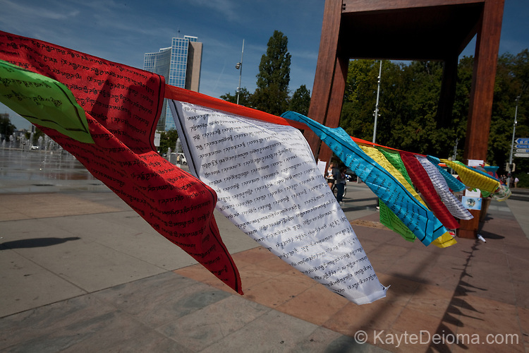 Tibetan prayer flags in support of Human Rights in Tibet and China on the Place des Nations in Geneva, Switzerland