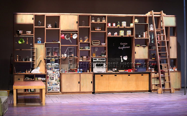 Stage and set for the Montreal-based circus The 7 Fingers (Les 7 Doigts) in rehearsal for 'Cuisine & Confessions' at the NYU Skirball on April 11, 2017 in New York City.