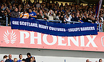 Rangers fans banner in the stands at Ibrox