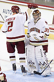 Parker Milner (BC - 35) made 5 saves in the second period to preserve the shutout begun by John Muse. - The Boston College Eagles defeated the visiting University of Toronto Varsity Blues 8-0 in an exhibition game on Sunday afternoon, October 3, 2010, at Conte Forum in Chestnut Hill, MA.