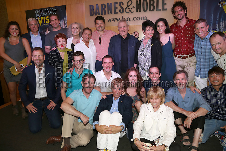 John Kander and Chita Rivera with the cast and producers from the Original Broadway cast recording of 'The Visit' signing at Barnes & Noble, 86th & Lexington on July 9, 2015 in New York City.