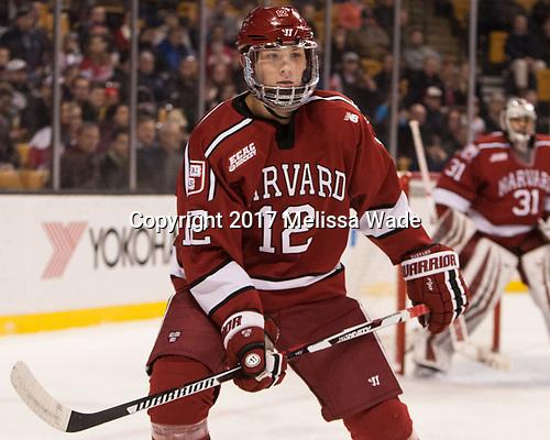 John Marino (Harvard - 12) - The Harvard University Crimson defeated the Boston University Terriers 6-3 (EN) to win the 2017 Beanpot on Monday, February 13, 2017, at TD Garden in Boston, Massachusetts.