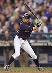 Seattle Mariners'  Ichiro Suzuki bats against the Baltimore Orioles at SAFECO Field in Seattle April 19, 2010. The  Mariners beat the Orioles 8-2. Jim Bryant Photo. &copy;2010. ALL RIGHTS RESERVED.