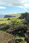 Toppled moai along the coast of Rapa Nui, Chile