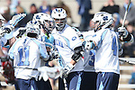 14 February 2015: UNC players celebrate a goal by North Carolina's Duncan Hutchins (32). The University of North Carolina Tar Heels hosted the University of Massachusetts Minutemen in a 2015 NCAA Division I Men's Lacrosse match. UNC won the game 20-8.