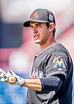 7 March 2016: Miami Marlins infielder Austin Nola awaits his turn in the batting cage prior to a Spring Training pre-season game against the Washington Nationals at Space Coast Stadium in Viera, Florida. The Nationals defeated the Marlins 7-4 in Grapefruit League play. Mandatory Credit: Ed Wolfstein Photo *** RAW (NEF) Image File Available ***