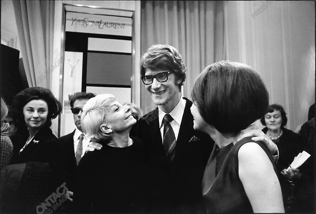 Yves Saint Laurent, fashion designer, with Zizi Jeanmaire (left) and Leslie Caron (right), Paris, France, February 1966