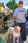 Tall senior man walking bulldog and wearing Army sweatshirt and Vietnam Veteran cap at Merrick Street Fair in Merrick; New York; USA; on October 22; 2011; editorial