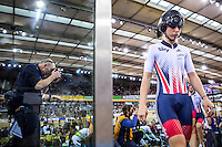 Picture by Alex Whitehead/SWpix.com - 04/03/2016 - Cycling - 2016 UCI Track Cycling World Championships, Day 3 - Lee Valley VeloPark, London, England - Great Britain's Laura Trott prepares to compete in the Women's Team Pursuit first round.