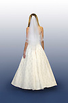 Young woman in beautiful white wedding gown walking away Isolated with a clipping path on white blue background Weddings, marriage, love concept