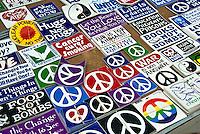 Auto, Car, Bumper Stickers, Third Street Promenade, Downtown, stores, shopping, street mall; beach community, open-air, Santa Monica; CA;