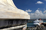 USA, Puerto Rico, San Juan. A cruiseship in port in san Juan, Puerto Rico.