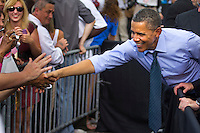 President Barack Obama visits the Port of Tampa on April 13th, 2012 in Tampa, FL before heading to Columbia for the Summit of the Americas. The President spoke about the increase in United States exports and how the Port of Tampa and the state of Florida has benefitted from it.
