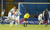 Guatemala's Marco Pappa (16) and Carlos Ruiz celebrate a goal as the United States played Guatemala at Estadio Mateo Flores in Guatemala City, Guatemala in a World Cup Qualifier on Tue. June 12, 2012.