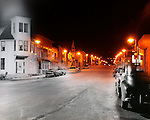 Blend old photo taken in 1956 and photo today of Main Street in Menomonee Falls Wisconsin