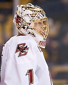 John Muse (BC - 1) - The Boston College Eagles defeated the Boston University Terriers 3-2 (OT) in their Beanpot opener on Monday, February 7, 2011, at TD Garden in Boston, Massachusetts.