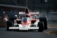 LONG POND, PA - JUNE 1: Mario Andretti drives the  Lola T332 HU29/Chevrolet in the USAC/SCCA Formula 5000 event on June 1, 1975, on the infield road course at Pocono Raceway near Long Pond, Pennsylvania.
