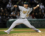 CHICAGO - APRIL 12:  Craig Breslow #56 of the Oakland Athletics pitches against the Chicago White Sox on April 12, 2011 at U.S. Cellular Field in Chicago, Illinois.  The White Sox defeated the Athletics 6-5.  (Photo by Ron Vesely)  Subject:  Craig Breslow