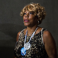 A delegate enters the floor at the Time Warner Cable Arena for the Democratic National Convention on Tuesday, September 4, 2012 in Charlotte, NC.