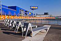 IKEA, Benches, Red Hook, Brooklyn, New York City, New York, USA