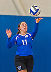 18 October 2015: Yeshiva University Maccabee Setter, Defensive Specialist, and team co-Captain Aliza Muller, a Senior from Los Angeles, CA, serves during game action against the College of Mount Saint Vincent Dolphins at the Peter Sharp Center, in Riverdale, NY. The Dolphins defeated the Maccabees 3-0 in the NCAA Division III Women's Volleyball Skyline matchup. Mandatory Credit: Ed Wolfstein Photo *** RAW (NEF) Image File Available ***