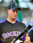 9 July 2011: Colorado Rockies infielder Mark Ellis awaits his turn in the batting cage prior to a game against the Washington Nationals at Nationals Park in Washington, District of Columbia. The Rockies edged out the Nationals 2-1 to win the second game of their 3-game series. Mandatory Credit: Ed Wolfstein Photo