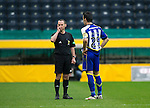 Kilmarnock v St Johnstone..24.11.12      SPL.Ref Stevie O'Reilly consults his fourth official before sending Manuel Pascali off.Picture by Graeme Hart..Copyright Perthshire Picture Agency.Tel: 01738 623350  Mobile: 07990 594431