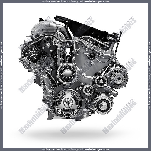 2017 Buick Lacrosse 3.6L V6 VVT DI 310HP car engine isolated with clipping path on white background